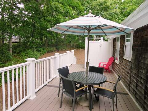 Deck with outdoor seating and Unbrella- 122 Tracy Lane Brewster Cape Cod New England Vacation Rentals