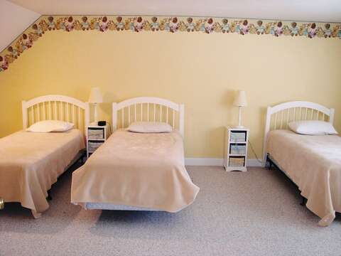 2nd Floor Bedroom #3 with 3 Twin Beds - 118 Deep Hole Road South Harwich Cape Cod New England Vacation Rentals