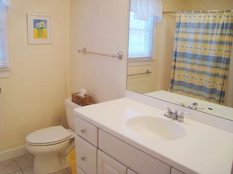Full Bath with Tub/shower Combo in Hall on 2nd flr - 118 Deep Hole Road South Harwich Cape Cod New England Vacation Rentals