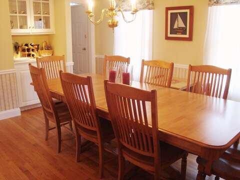 Separate Dining Room- Large table for family gatherings - 118 Deep Hole Road South Harwich Cape Cod New England Vacation Rentals