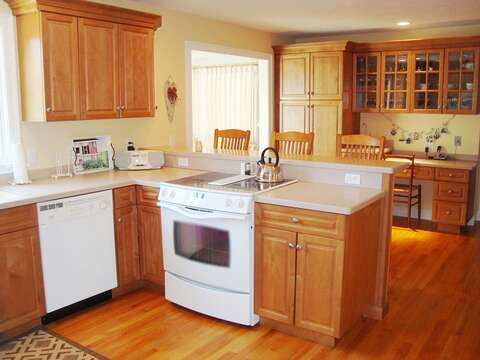 Open kitchen - fully equipped- Desjk with work area for those needing a place to work or write your postcards out! - 118 Deep Hole Road South Harwich Cape Cod New England Vacation Rentals