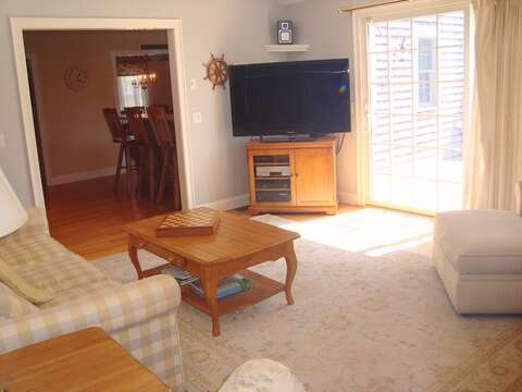 Flat Screen and WIFI - Sliders to deck and easy access to Dining/ kitchen - 118 Deep Hole Road South Harwich Cape Cod New England Vacation Rentals