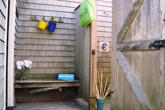 Enclosed outdoor shower - 325 Bridge Street Chatham Cape Cod New England Vacation Rentals