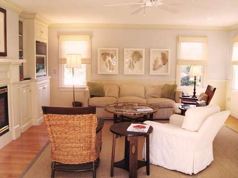 Living room with TV and WIFI- 325 Bridge Street Chatham Cape Cod New England Vacation Rentals