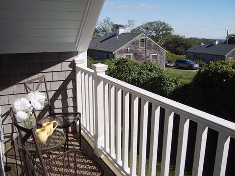 and seating area -with a peek of the ocean! 325 Bridge Street Chatham Cape Cod New England Vacation Rentals