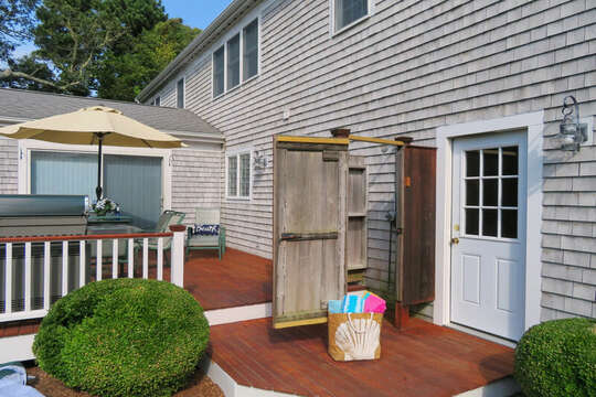 outdoor shower-enclosed : 118 Deep Hole Road South Harwich Cape Cod New England Vacation Rentals