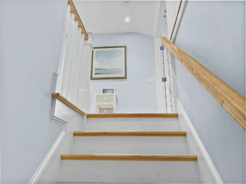 View of staircase to second floor-201 Main Street Chatham Cape Cod New England Vacation Rentals