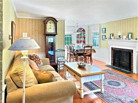 Living room with hardwood floors- 13 Lincoln Village Harwich Port Cape Cod New England Vacation Rentals