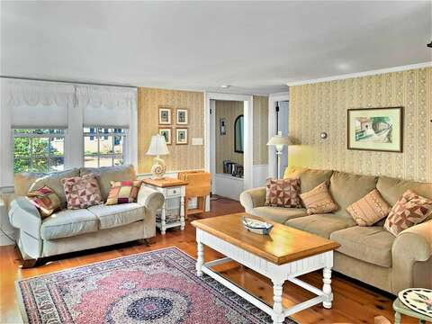 Hardwood floors in living area - 13 Lincoln Village Harwich Port Cape Cod New England Vacation Rentals