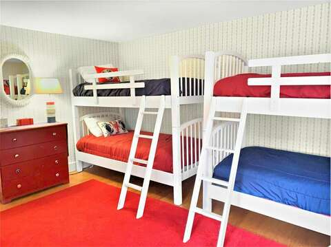 Bedroom #3 with 2 sets of twin bunk beds  - 58 Longs Lane Chatham Cape Cod New England Vacation Rentals