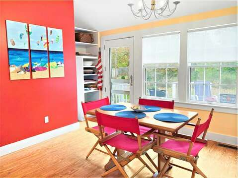 Dining area with easy access to the Deck! 58 Longs Lane Chatham Cape Cod New England Vacation Rentals