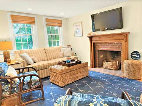 Enter into the cottage to the Living Area with flat screen TV and WiFi - 58 Longs Lane Chatham Cape Cod New England Vacation Rentals