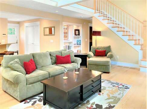 Open living with cathedral ceilings. Stairs to the 2nd floor - 22 Charlene Lane Harwich Cape Cod New England Vacation Rentals