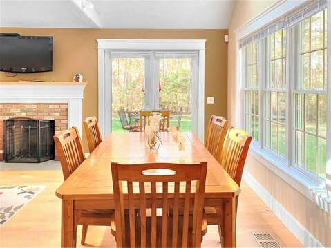 Open dining with French doors to the deck - 22 Charlene Lane Harwich Cape Cod New England Vacation Rentals