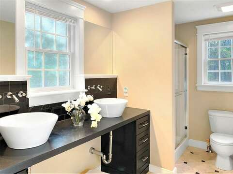 Full bathroom on the 1st floor with a shower - 22 Charlene Lane Harwich Cape Cod New England Vacation Rentals