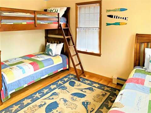 Bedroom 2 with Bunks and trundle (twin beds) - 122 Tracy Lane Brewster Cape Cod New England Vacation Rentals