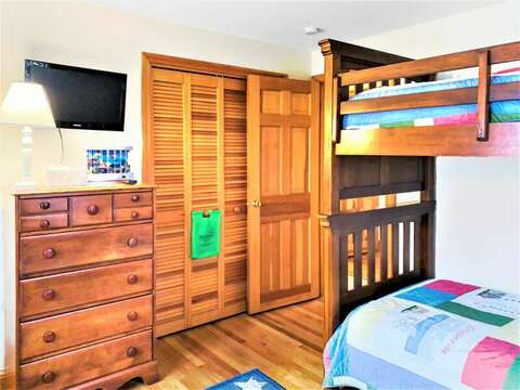 Bedroom 2 has flat screen TV - 122 Tracy Lane Brewster Cape Cod New England Vacation Rentals