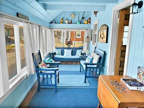 Enclosed front sun porch, a perfect place to rest for a bit - 17 Ocean Avenue Harwich Port Cape Cod New England Vacation Rentals