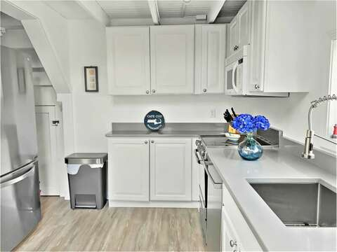 newly updated kitchen, with new stainless appliances - 17 Ocean Avenue Harwich Port Cape Cod New England Vacation Rentals