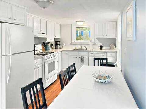 View of kitchen as you walk in side entry door- 130 Belmont Road West Harwich- Cape Cod - New England Vacation Rentals