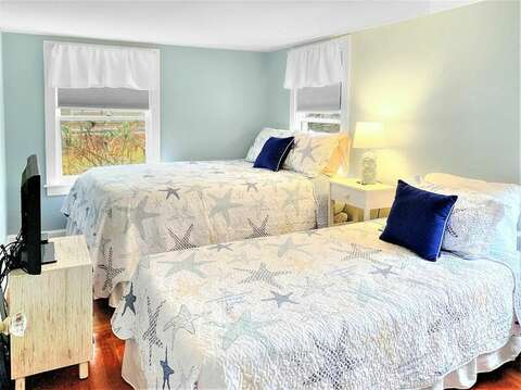 Bedroom # 2 with Queen and Twin beds, Window A/C unit- 130 Belmont Road West Harwich- Cape Cod - New England Vacation Rentals