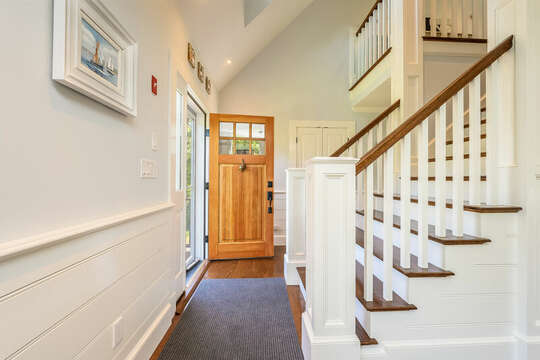 Front door and stairs to 3rd floor-93 Bucks Creek Road Chatham Cape Cod New England Vacation Rentals