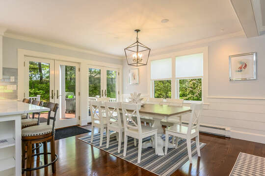 Dining table with seating for 8-93 Bucks Creek Road Chatham Cape Cod New England Vacation Rentals