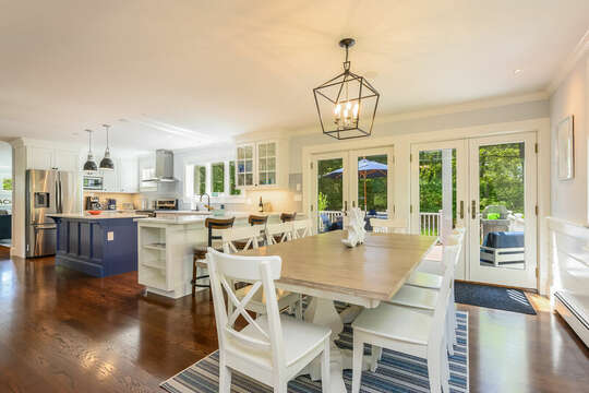 Dining with access to deck and pool-93 Bucks Creek Road Chatham Cape Cod New England Vacation Rentals
