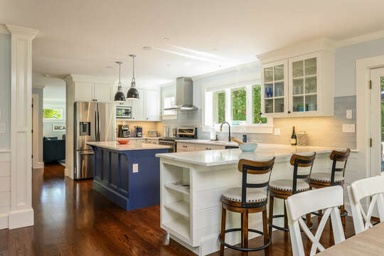 Large kitchen with center island and breakfast bar with seating for 3-93 Bucks Creek Road Chatham Cape Cod New England Vacation Rentals