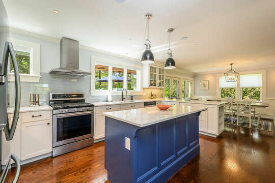 Large Chefs kitchen with large center island-93 Bucks Creek Road Chatham Cape Cod New England Vacation Rentals
