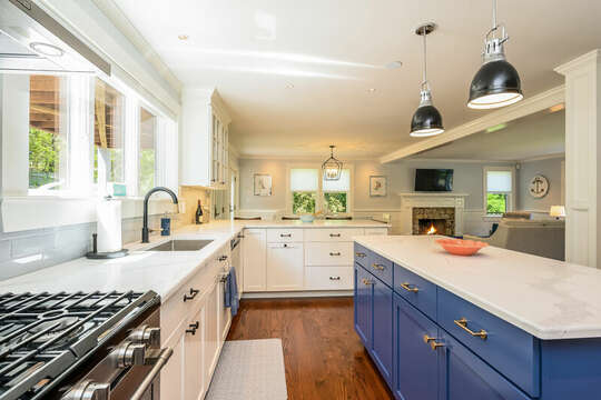 Large chefs kitchen open concept to dining and living room-93 Bucks Creek Road Chatham Cape Cod New England Vacation Rentals