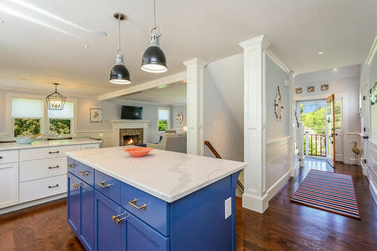 Large Chefs Kitchen at the top of the stairs-93 Bucks Creek Road Chatham Cape Cod New England Vacation Rentals