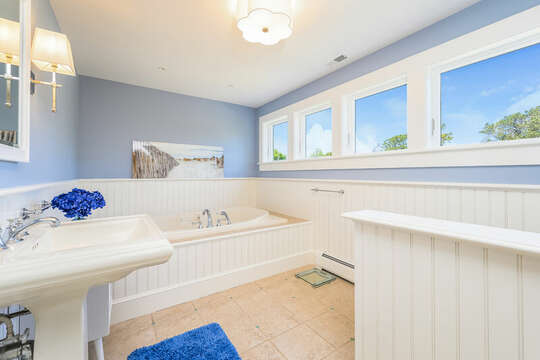 Ensuite bath #3 with jetted tub-93 Bucks Creek Road Chatham Cape Cod New England Vacation Rentals