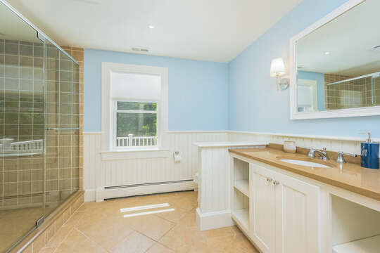 Ensuite bath #4 full with Shower -93 Bucks Creek Road Chatham Cape Cod New England Vacation Rentals