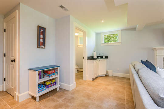 Half bath and mini kitchenette in finished lower level-93 Bucks Creek Road Chatham Cape Cod New England Vacation Rentals
