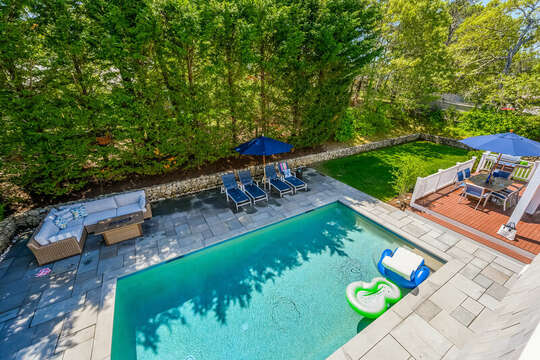 Birds eye view of the pool and back yard at-93 Bucks Creek Road Chatham Cape Cod New England Vacation Rentals