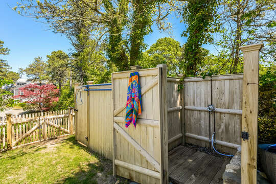 Out door shower just beyond hte pool at 93 Bucks Creek Road Chatham Cape Cod New England Vacation Rentals