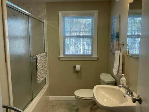 Full bathroom with a tub/shower off the hall - 23 Ridgevale Road South Harwich Cape Cod New England Vacation Rentals