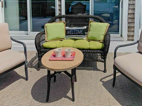 Welcome sit and enjoy your coffee at 19 Bob White Lane South Harwich Cape Cod New England Vacation Rentals