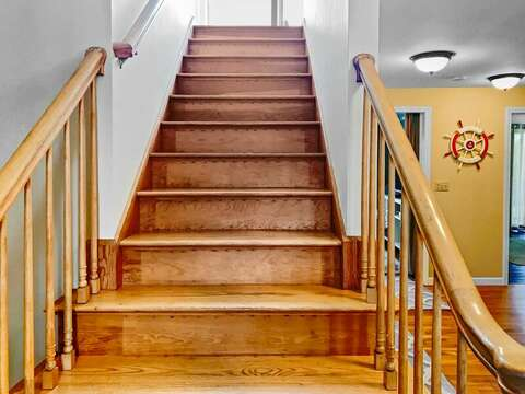 Stairs to the second floor at- 19 Bob White Lane South Harwich Cape Cod New England Vacation Rentals