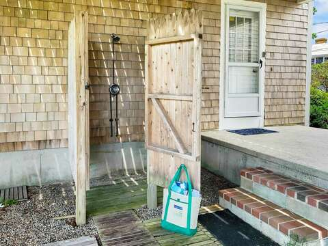 Enclosed outdoor shower with hot and cold water - 19 Bob White Lane South Harwich Cape Cod New England Vacation Rentals
