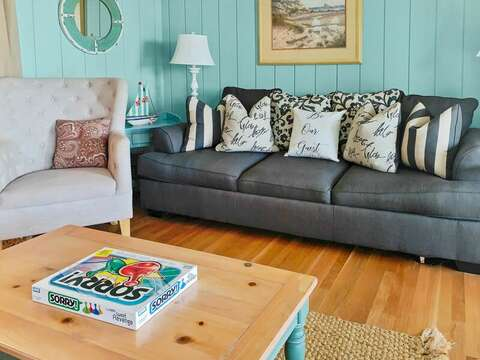 First floor Den with a Queen sleep sofa and a flat screen TV - 19 Bob White Lane South Harwich Cape Cod New England Vacation Rentals