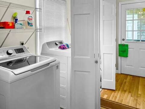 Laundry room on the lower level at 19 Bob White Lane South Harwich Cape Cod New England Vacation Rentals