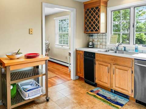 Kitchen  with entrance to dining room- 19 Bob White Lane South Harwich Cape Cod New England Vacation Rentals