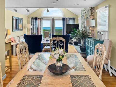 Looking at the Ocean from the dining area at-19 Bob White Lane South Harwich Cape Cod New England Vacation Rentals