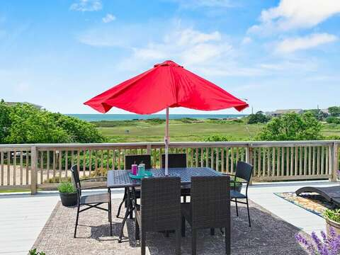 Enjoy a family meal on the deck at -19 Bob White Lane South Harwich Cape Cod New England Vacation Rentals