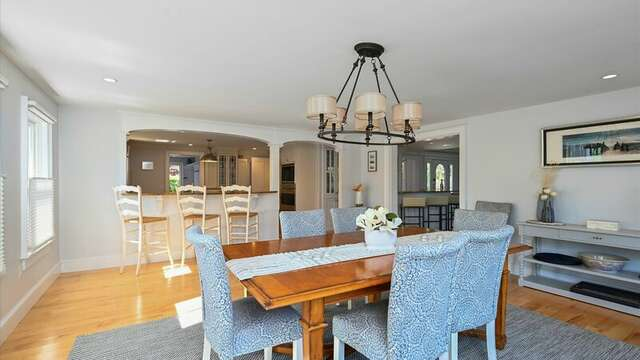 View of Dining Area to Kitchen. Sitting and Bar Area. 201 Main Street Chatham Cape Cod New England Vacation Rentals