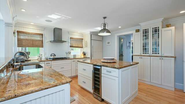 Fully Equipped Chef's Kitchen .  Dining Area. Sitting and Bar Area. 201 Main Street Chatham Cape Cod New England Vacation Rentals