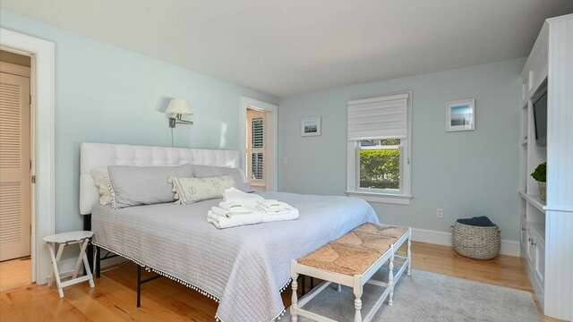 Main Floor Bedroom #1  with On Suite Bathroom #1 with Shower.  201 Main Street Chatham Cape Cod New England Vacation Rentals
