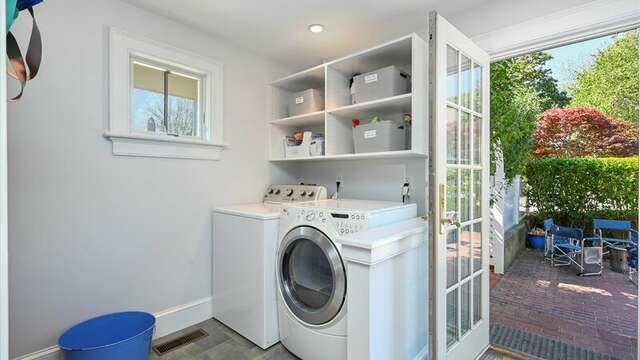 Laundry Room off Kitchen with entry to Backyard.  201 Main Street Chatham Cape Cod New England Vacation Rentals
